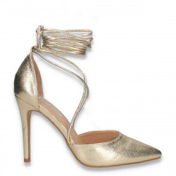Pantofi stiletto cu siret pe picior, aurii - W273