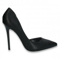Pantofi stiletto, pentru dama, cu toc inalt, negri - W279