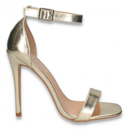 Sandale elegante, cu toc inalt, aurii - W281