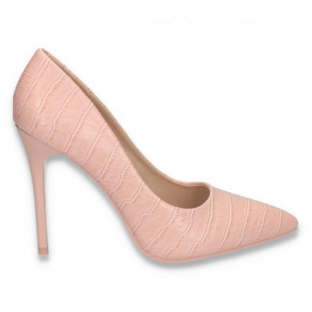 Pantofi stiletto, pentru dama, cu imprimeu croco, roz - W283