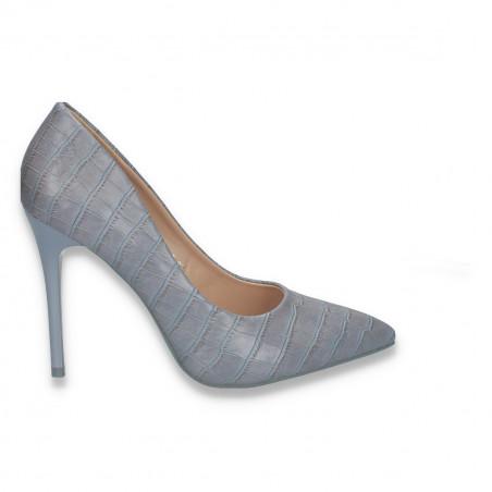 Pantofi stiletto, pentru dama, cu imprimeu croco, albastru deschis - W284