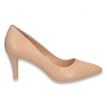 Pantofi stiletto, pentru dama, cu toc mic, bej - W289