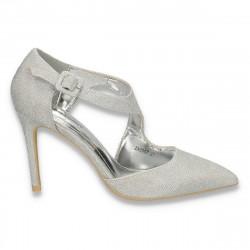 Pantofi eleganti, pentru dama, din lurex, argintii - W291
