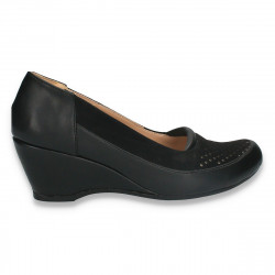 Pantofi dama clasici, platforma mica, negri - W294