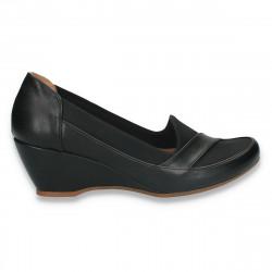 Pantofi dama clasici, piele eco+textil, negri - W297