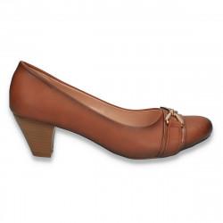 Pantofi office, pentru dama, cu toc mic, maro - W298