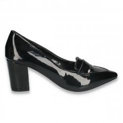 Pantofi eleganti, din lac, pentru femei, negri - W301