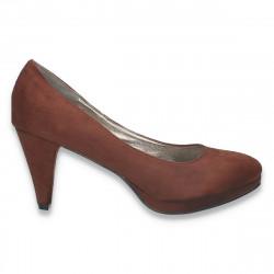 Pantofi dama din imitatie velur, cu toc mic, maro - W303