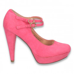 Pantofi femei, cu platforma si barete, fucsia - W309