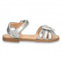 Sandale argintii, cu funda glami, pentru fete - W310