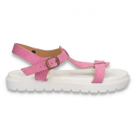 Sandale piele dama, cu talpa intreaga, fucsia - W311