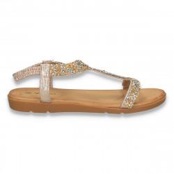 Sandale dama, cu talpa joasa, aurii - W313