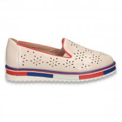 Pantofi dama cu perforatii, bej - W315
