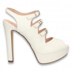 Sandale glami dama, cu toc inalt, masiv, albe - W318
