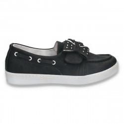 Pantofi fete tip mocasini, negri - W322