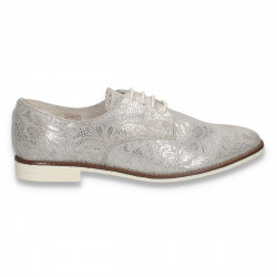 Pantofi dama din piele, stil masculin, argintii - W324