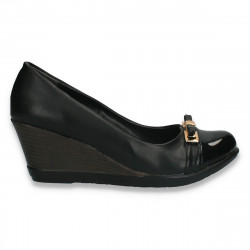 Pantofi dama clasici, cu platforma, negri - W325