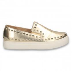Pantofi glami dama, cu tinte, aurii - W328