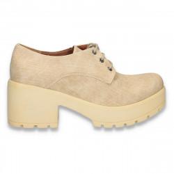 Pantofi dama , cu toc masiv, bej - W330