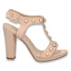Sandale elegante pentru femei, cu perle, roz-pudra - W333