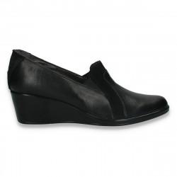 Pantofi dama clasici, din piele, cu talpa intreaga, negri - W338