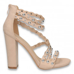 Sandale elegante pentru femei, cu bareta pe glezna, roz-pudra - W348