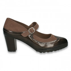 Pantofi clasici dama, cu elemente Oxford si bareta, maro - W351