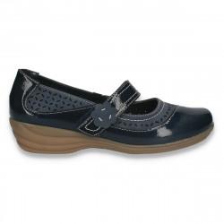 Pantofi femei clasici, cu bareta, bleumarin - W355