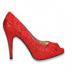 Pantofi decupati, pentru dama, din dantela, rosii - W356