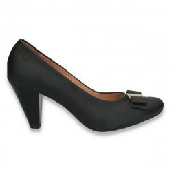 Pantofi dama, din piele, cu toc mic, negri - W357