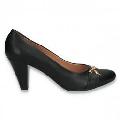 Pantofi negri dama, cu toc mic- W358
