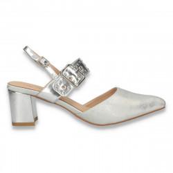 Pantofi cu varf ascutit si toc mic, argintii - W366