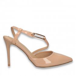 Pantofi dama din lac, cu toc stiletto, bej - W367