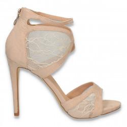 Sandale elegante dama, din dantela, bej - W369