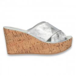 Saboti Bellini, argintii, din piele, cu platforma inalta - W376