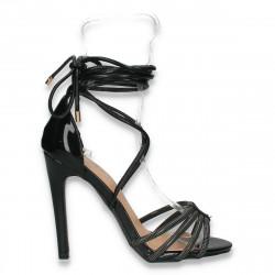 Sandale elegante, cu siret pe picior, negre - W384