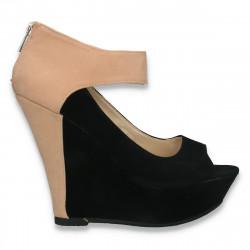 Pantofi glami dama, cu bareta si platforma inalta, bej-negru - W389