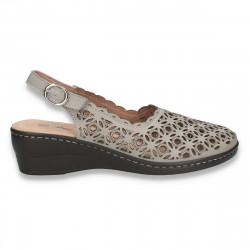 Sandale dama cu varf inchis si decupaje, gri - W390