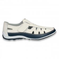 Pantofi casual dama, din piele, cu decupaje, alb-bleumarin - W393