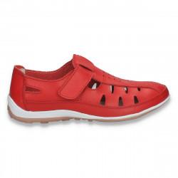 Pantofi casual dama, din piele, cu decupaje, rosii - W394