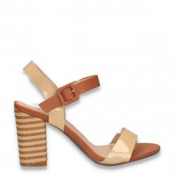 Sandale elegante, cu toc gros, bej-maro - W395
