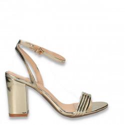 Sandale elegante, cu bareta pe glezna, aurii - W396