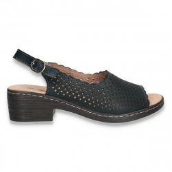 Sandale dama din piele, cu decupaje, bleumarin - W397