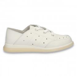 Pantofi casual dama, din piele, cu siret, albi - W398
