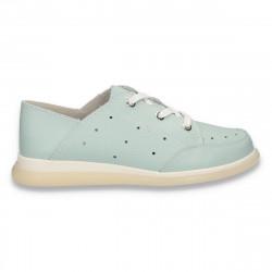 Pantofi casual dama, din piele, cu siret, verde mint - W399