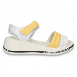 Sandale casual dama, din piele, alb-galben - W401