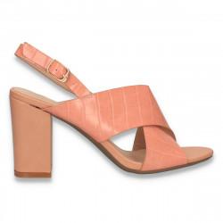 Sandale dama din piele, cu imprimeu croco, roz - W402