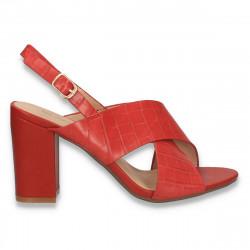 Sandale dama, cu imprimeu croco, roz - W403