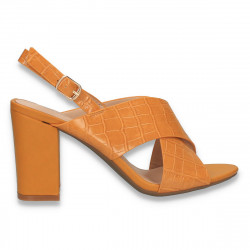 Sandale dama, cu imprimeu croco, galben - W404
