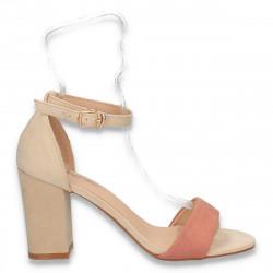 Sandale elegante, cu toc gros, bej-roz - W405